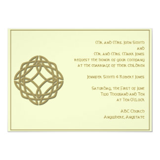 Celtic Eternity Knot in Harvest Gold and Ivory 5x7 Paper Invitation Card