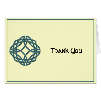 Celtic Eternity Knot Teal and Ivory Thank You Card