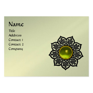 CELTIC FLOWER MONOGRAM black platinum metallic Large Business Cards (Pack Of 100)