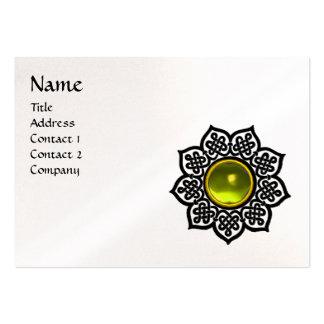 CELTIC FLOWER MONOGRAM black white pearl paper Large Business Cards (Pack Of 100)