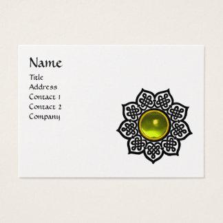 CELTIC FLOWER MONOGRAM black white pearl paper Business Card