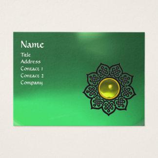 CELTIC FLOWER MONOGRAM green emerald,yellow topaz Business Card