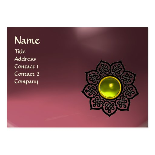 CELTIC FLOWER MONOGRAM pink amethyst, topaz Business Card Template