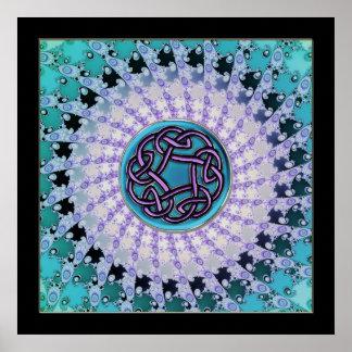 Celtic Fractal Mandala Framed in Black Print