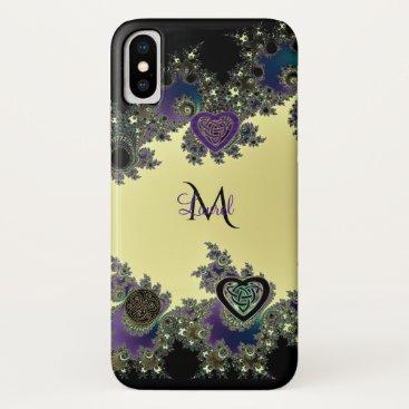 Beach Themed Celtic Fractal Monogram in Black Gold  Purple iPhone X Case
