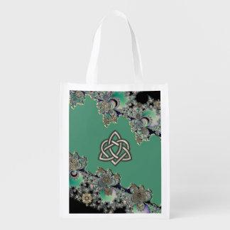 Celtic Fractal Mystical Symbols Heart Knot Bag Grocery Bags