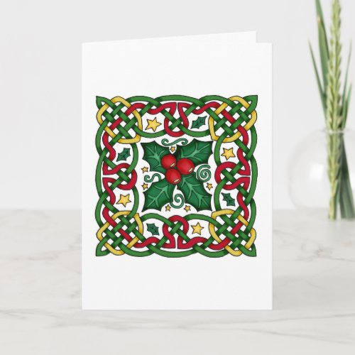 Celtic Garland & Holly Greeting Card