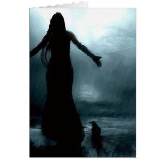 celtic goddess morrigan crow raven rain water card
