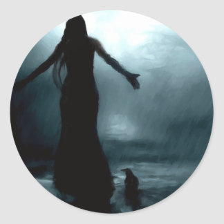 celtic goddess morrigan crow raven rain water classic round sticker