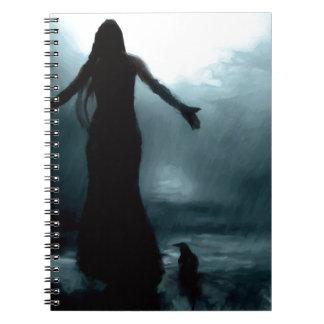 celtic goddess morrigan crow raven rain water notebook