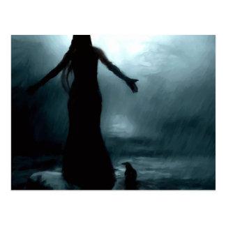 celtic goddess morrigan crow raven rain water postcard