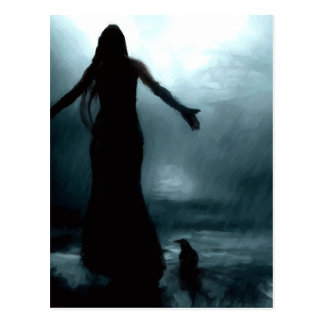 celtic goddess morrigan crow raven rain water postcards
