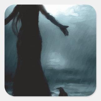 celtic goddess morrigan crow raven rain water square sticker