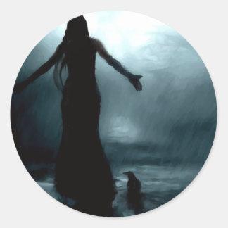 celtic goddess morrigan crow raven rain water round sticker
