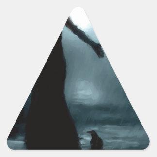 celtic goddess morrigan crow raven rain water triangle sticker