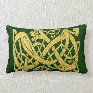Celtic Gold Snake on Dark Green Lumbar Pillow