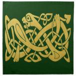 Celtic Gold Snake On Dark Green Napkins (set Of 4) at Zazzle