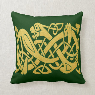 Celtic Gold Snake On Dark Green Throw Pillow (s) at Zazzle