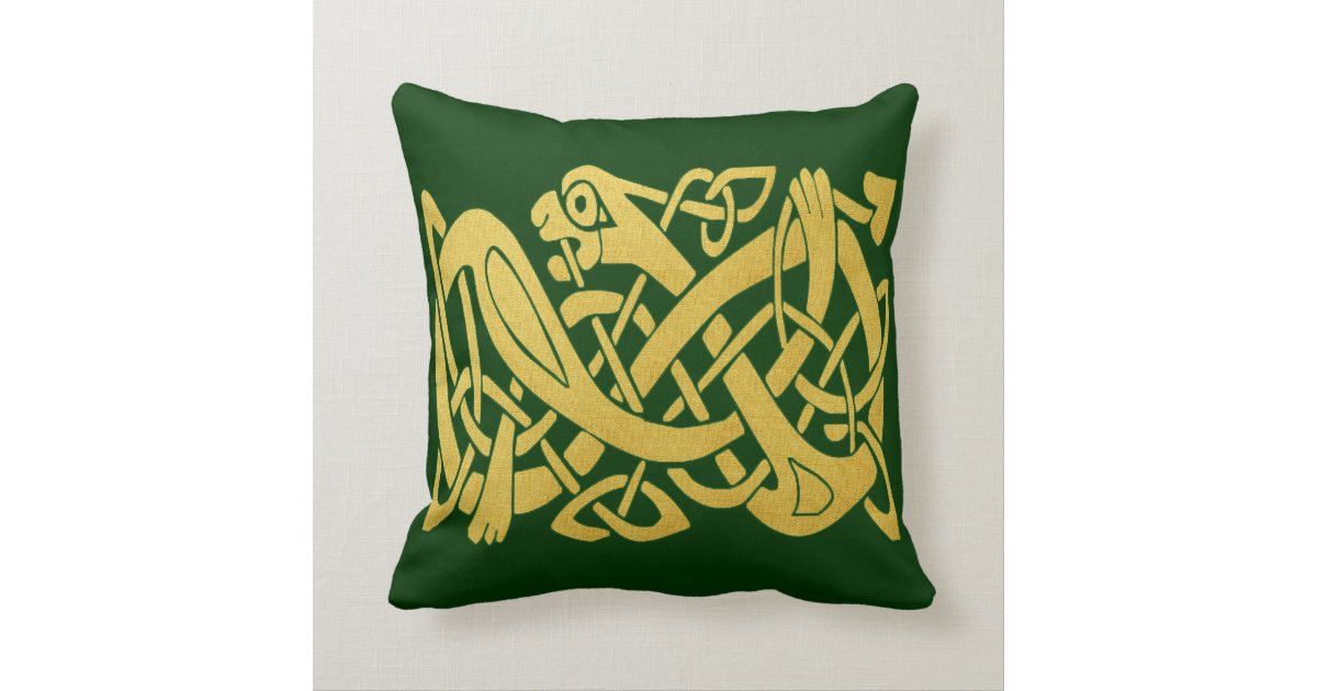 celtic gold snake on dark green throw pillow s zazzle. Black Bedroom Furniture Sets. Home Design Ideas