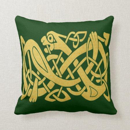 Celtic Gold Snake On Dark Green Throw Pillow (s)