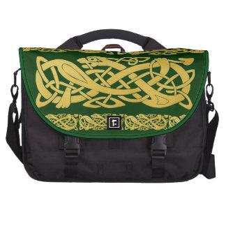 Celtic Gold Snakes on Dark Green Laptop Bag