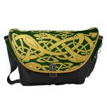 Celtic Gold Snakes on Dark Green Large Messenger Messenger Bag at Zazzle