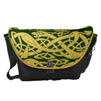 Celtic Gold Snakes on Dark Green Large Messenger Messenger Bags