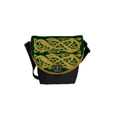 Celtic Gold Snakes on Dark Green Mini Messenger Messenger Bag at Zazzle