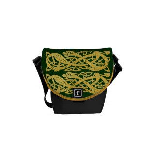 Celtic Gold Snakes on Dark Green Mini Messenger Messenger Bag