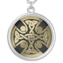 Celtic golden knot silver plated necklace
