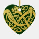 Celtic Golden Snake Green Heart Shape Ornament at Zazzle