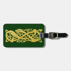 Celtic Golden Snake on Dark Green Baggage Tag at Zazzle