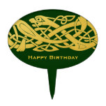 Celtic Golden Snake on Dark Green Cake Top Cake Picks at Zazzle
