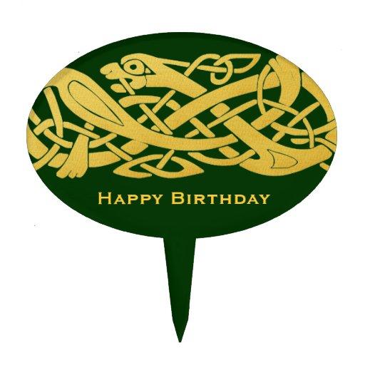 Celtic Golden Snake on Dark Green Cake Top Cake Picks