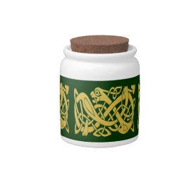 Celtic Golden Snake on Dark Green Candy Jar at Zazzle