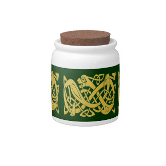 Celtic Golden Snake on Dark Green Candy Jar