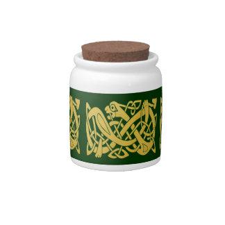 Celtic Golden Snake on Dark Green Candy Jar