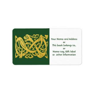 Celtic Golden Snake on Dark Green labels at Zazzle