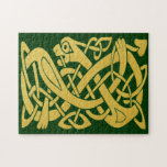 Celtic Golden Snake On Dark Green Puzzle at Zazzle