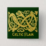 Celtic Golden Snake On Dark Green Square Pin at Zazzle