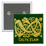 Celtic Golden Snake On Dark Green Square Pin at Zazzle