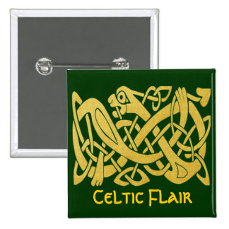 Celtic Golden Snake on Dark Green Square Pin