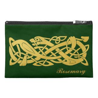 Celtic Golden Snake on Dark Green Travel Bag Travel Accessories Bags