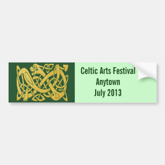Celtic Golden Snake on Dark Green Wall or Auto Bumper Stickers