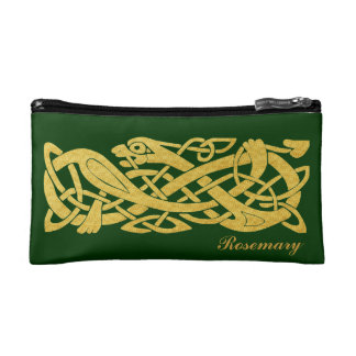 Celtic Golden Snake on Green Cosmetic Bag Small