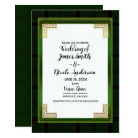 Celtic Green Gold Plaid Tartan White Irish Wedding Invitation