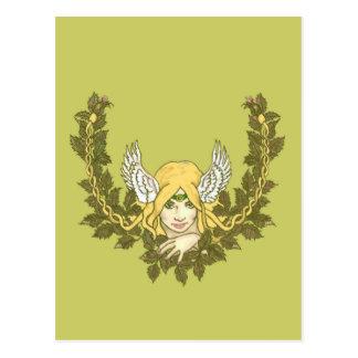 Celtic Green Lady Wreath Postcard