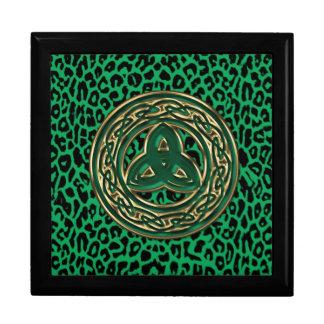 Celtic Green Leopard Jade Gold Trinity Jewelry Box