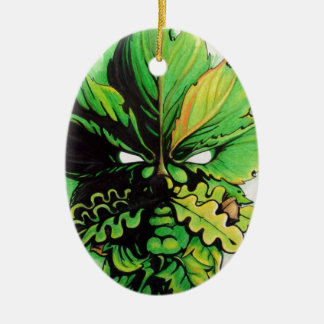 Celtic green man of the forest ceramic ornament