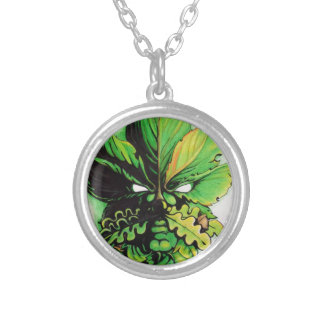 Celtic green man of the forest round pendant necklace